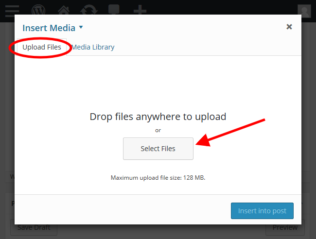 WordPress article - Upload media files