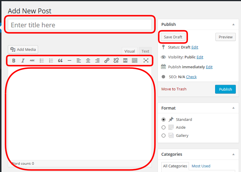 Wordpress article - Fields for new post