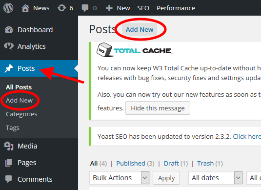 WordPress article - Add new post