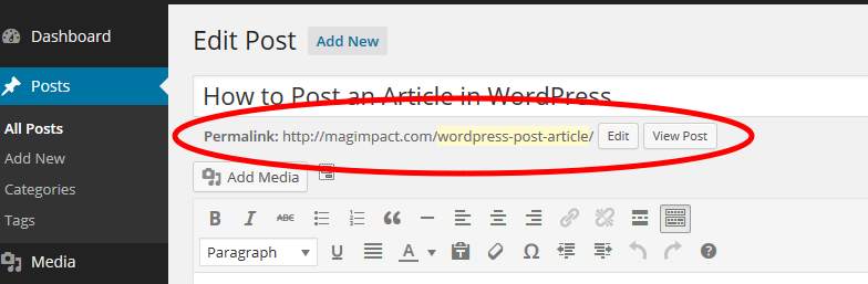 WordPress article - Permalink