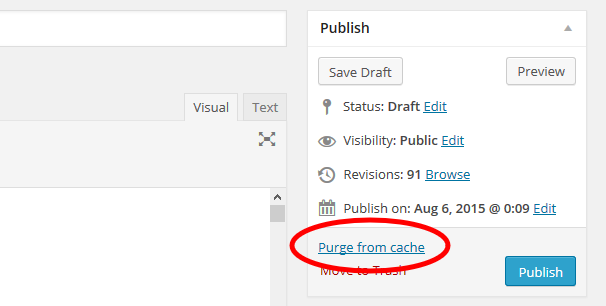WordPress article - Purge from Cache