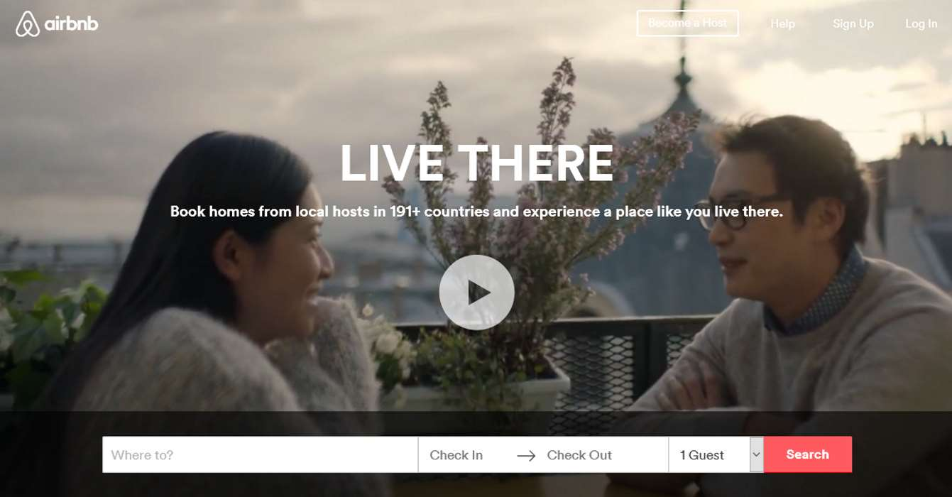 Example for creating a website for your business: Airbnb home page