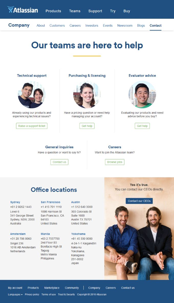 Example for creating a website for your business: Atlassian Contact page