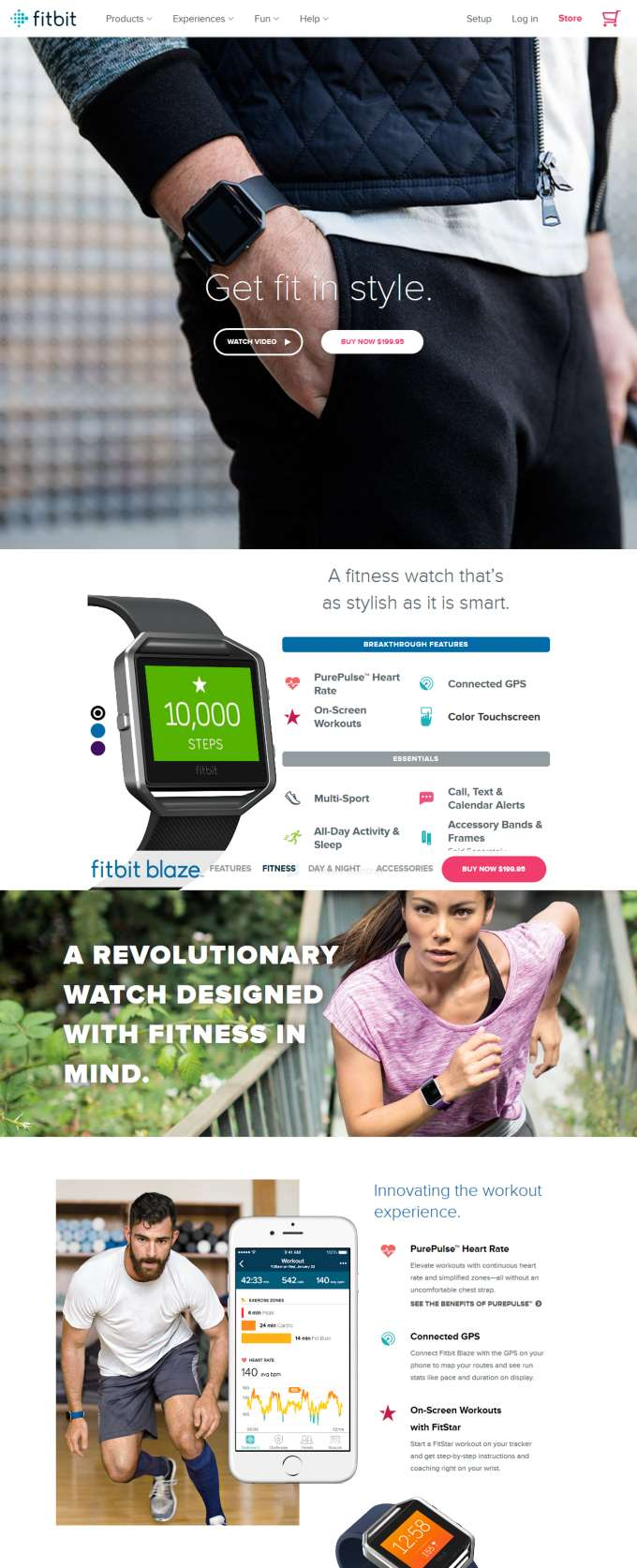 Example for creating a website for your business: Fitbit product page