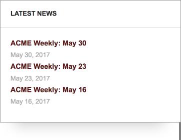 Screenshot of PTO latest news