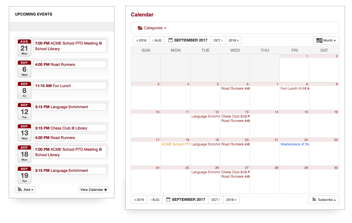 screenshot of the PTO calendar feature