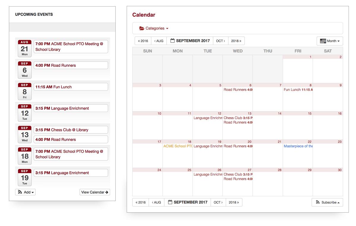 screenshot of the PTO calendar feature