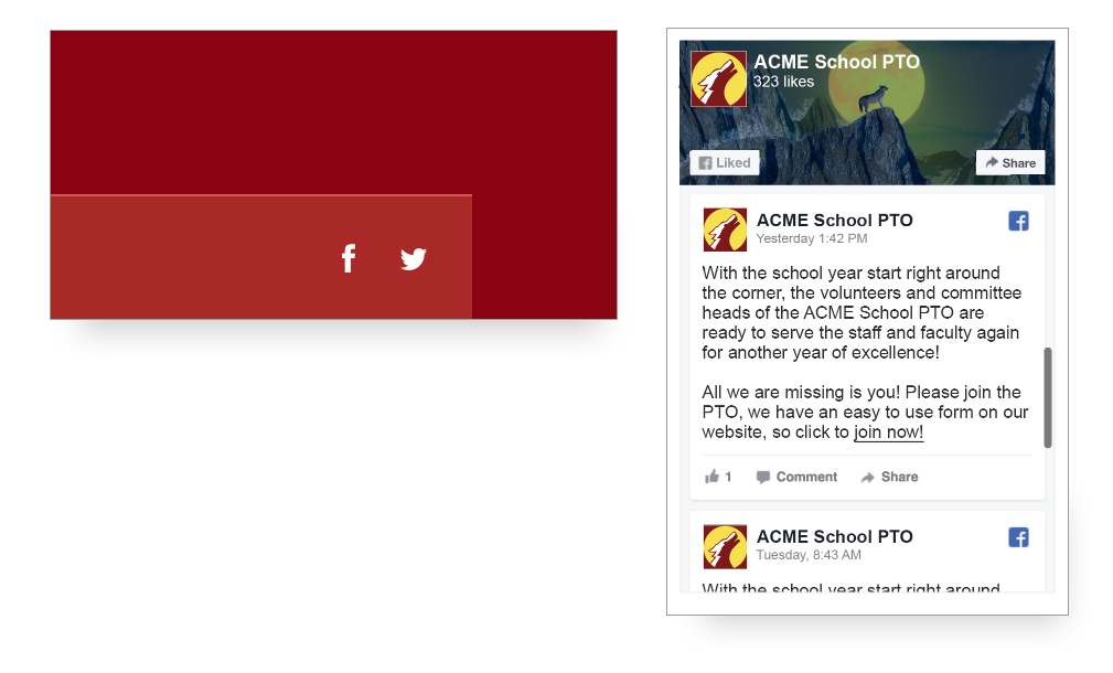 Screenshot of PTO Social Media integration