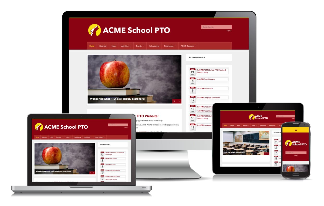 Showing the PTO website on all popular screen sizes