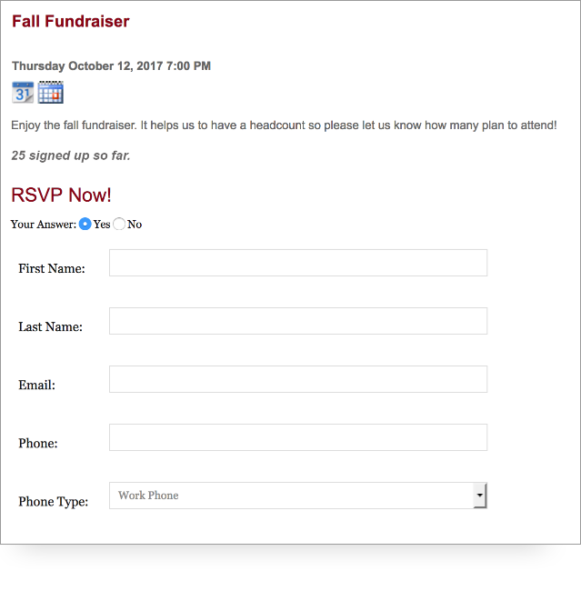 screenshot of PTO RSVP feature