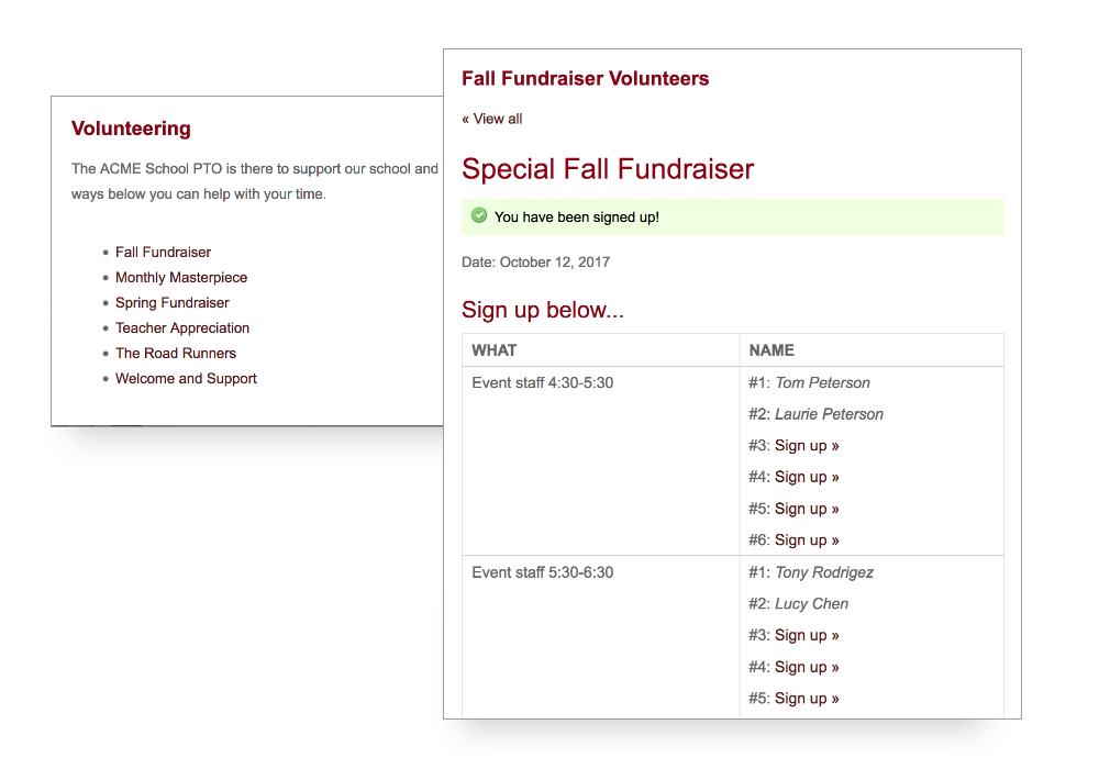 screenshot of Volunteer page and signups