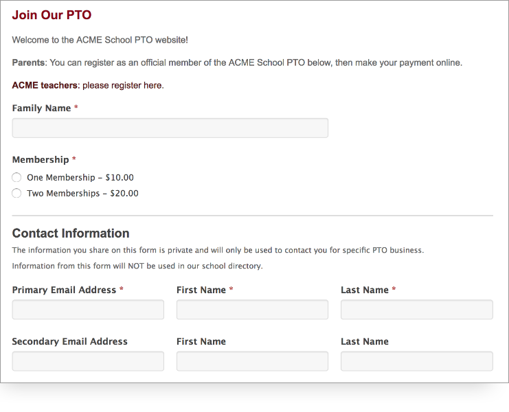 screenshot of PTO Online Payment forms