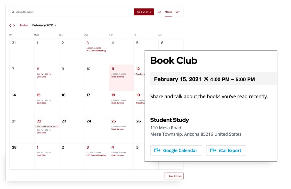 Screenshot of PTO events to your calendar
